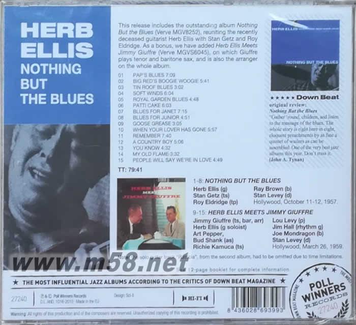 HERB ELLIS NOTHING BUT THE BLUES 蓝调吉它(爵士大师五星系列) 价格
